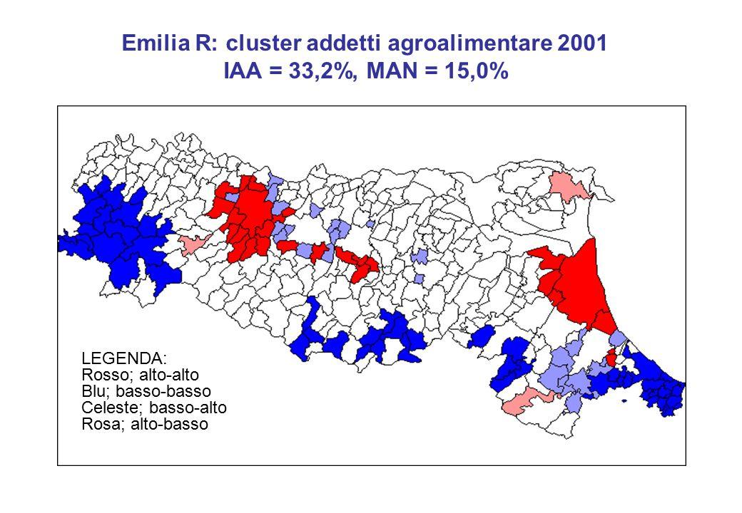 Emilia R: cluster addetti agroalimentare 2001 IAA = 33,2%, MAN = 15,0% LEGENDA: Rosso; alto-alto Blu; basso-basso Celeste; basso-alto Rosa; alto-basso