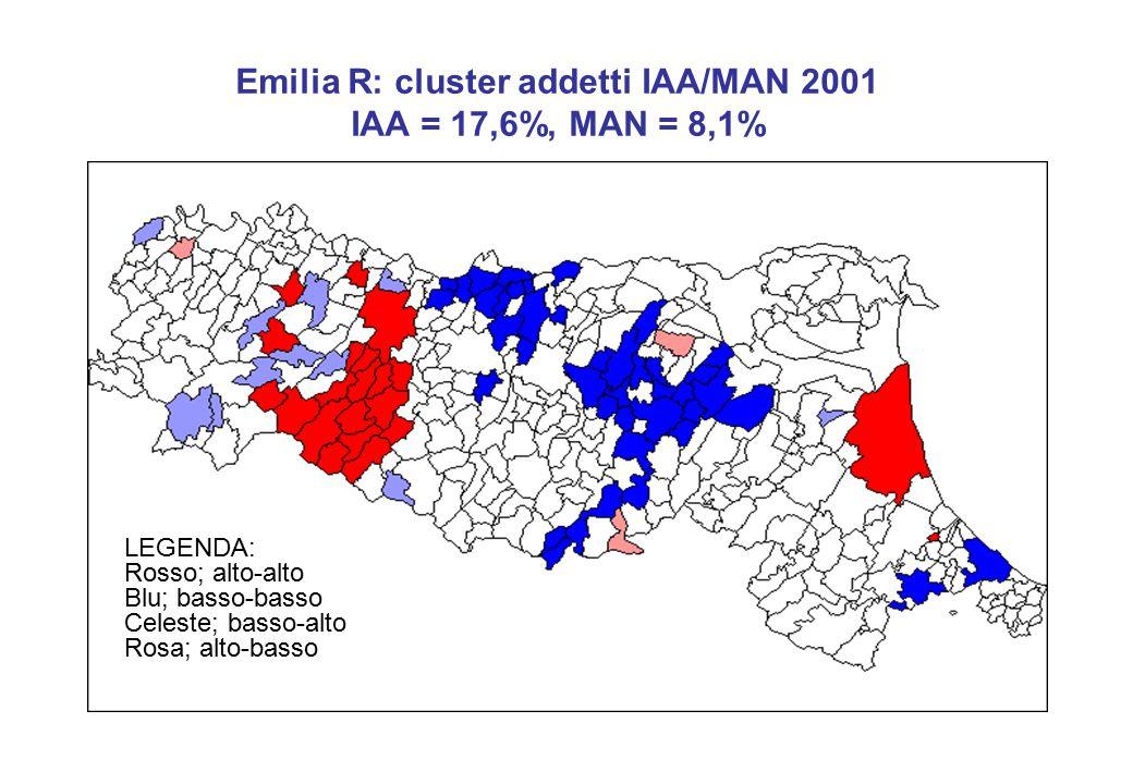 Emilia R: cluster addetti IAA/MAN 2001 IAA = 17,6%, MAN = 8,1% LEGENDA: Rosso; alto-alto Blu; basso-basso Celeste; basso-alto Rosa; alto-basso