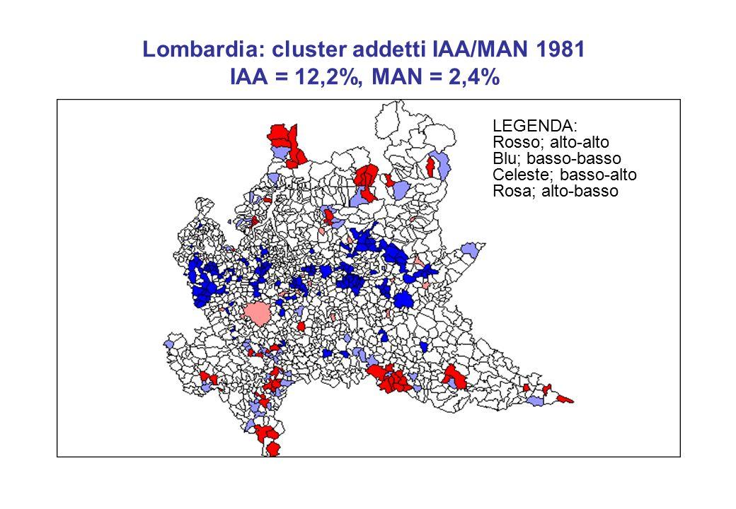 Lombardia: cluster addetti IAA/MAN 1981 IAA = 12,2%, MAN = 2,4% LEGENDA: Rosso; alto-alto Blu; basso-basso Celeste; basso-alto Rosa; alto-basso