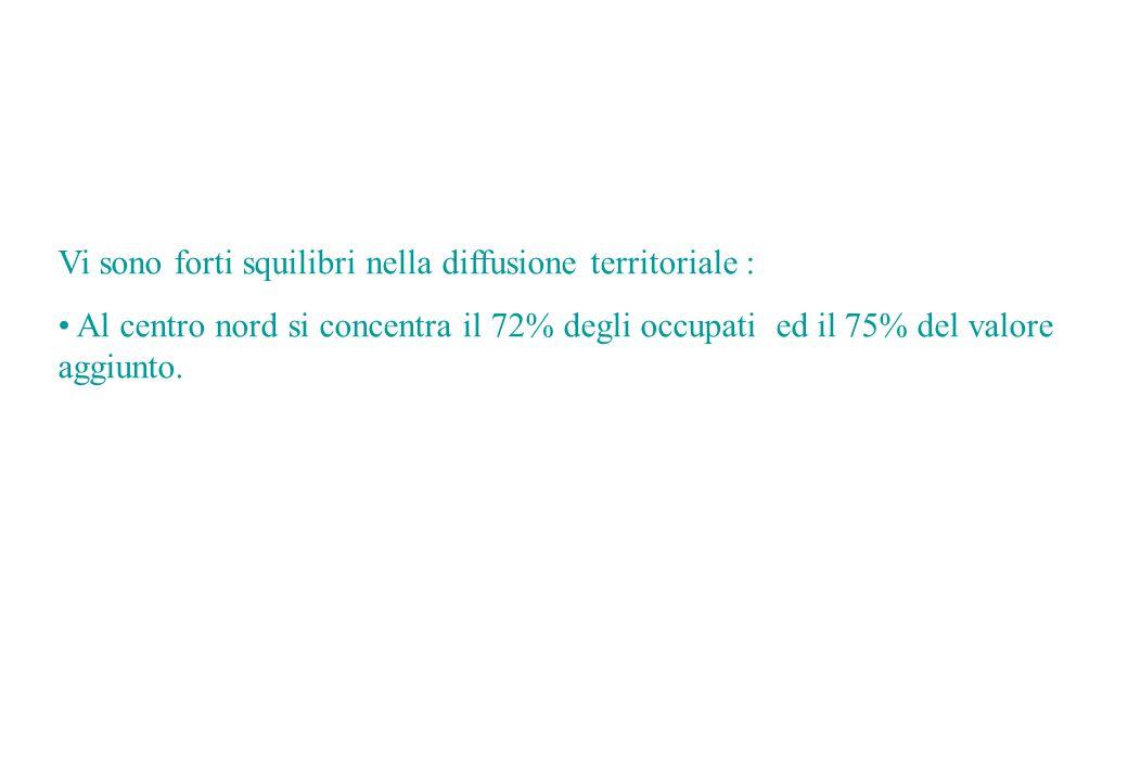 Vi sono forti squilibri nella diffusione territoriale : Al centro nord si concentra il 72% degli occupati ed il 75% del valore aggiunto.