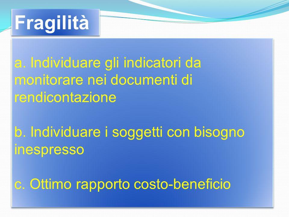 a. Individuare gli indicatori da monitorare nei documenti di rendicontazione b.