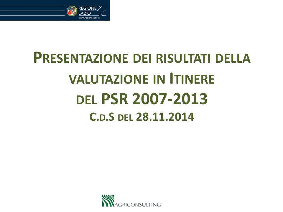 P RESENTAZIONE DEI RISULTATI DELLA VALUTAZIONE IN I TINERE DEL PSR 2007-2013 C. D.S DEL 28.11.2014