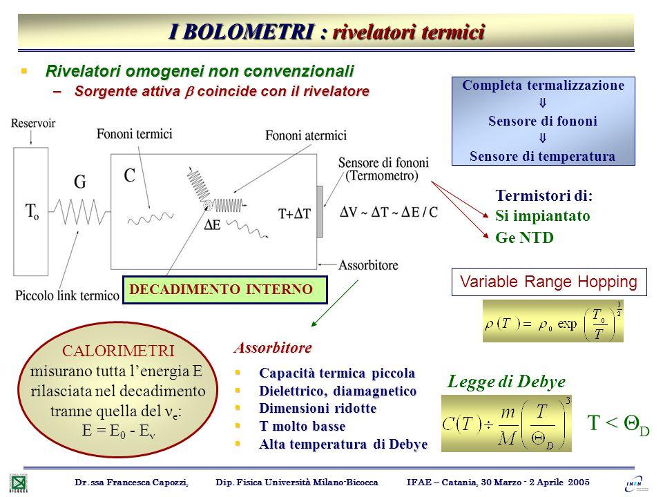 I BOLOMETRI : rivelatori termici Dr.ssa Francesca Capozzi, Dip. Fisica Università Milano-Bicocca IFAE – Catania, 30 Marzo - 2 Aprile 2005  Rivelatori