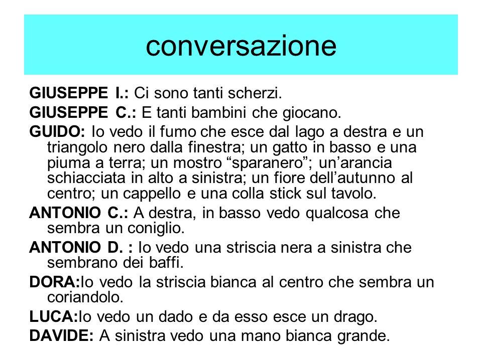 conversazione GIUSEPPE I.: Ci sono tanti scherzi.GIUSEPPE C.: E tanti bambini che giocano.