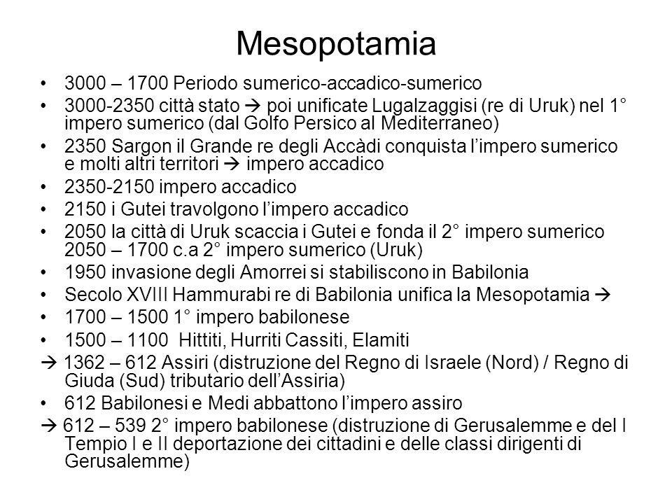 Mesopotamia 3000 – 1700 Periodo sumerico-accadico-sumerico 3000-2350 città stato  poi unificate Lugalzaggisi (re di Uruk) nel 1° impero sumerico (dal