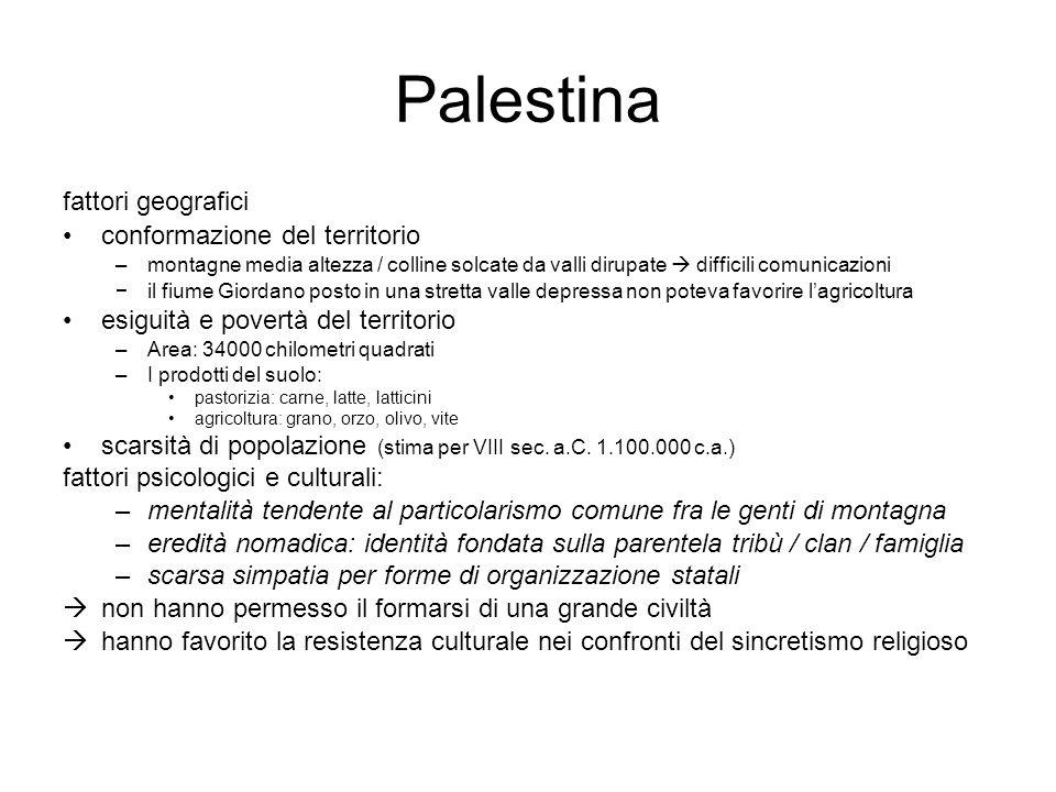 Palestina fattori geografici conformazione del territorio –montagne media altezza / colline solcate da valli dirupate  difficili comunicazioni −il fi