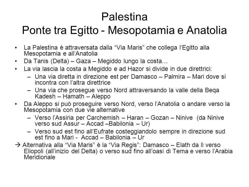 "Palestina Ponte tra Egitto - Mesopotamia e Anatolia La Palestina è attraversata dalla ""Via Maris"" che collega l'Egitto alla Mesopotamia e all'Anatolia"