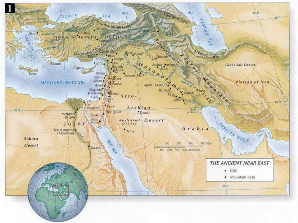 Palestina Ponte tra Egitto - Mesopotamia e Anatolia La Palestina è attraversata dalla Via Maris che collega l'Egitto alla Mesopotamia e all'Anatolia Da Tanis (Delta) – Gaza – Megiddo lungo la costa… La via lascia la costa a Megiddo e ad Hazor si divide in due direttrici: –Una via diretta in direzione est per Damasco – Palmira – Mari dove si incontra con l'altra direttrice –Una via che prosegue verso Nord attraversando la valle della Beqa Kadesh – Hamath – Aleppo Da Aleppo si può proseguire verso Nord, verso l'Anatolia o andare verso la Mesopotamia con due vie alternative –Verso l'Assiria per Carchemish – Haran – Gozan – Ninive (da Ninive verso sud Assur – Accad –Babilonia – Ur) –Verso sud est fino all'Eufrate costeggiandolo sempre in direzione sud est fino a Mari - Accad – Babilonia – Ur  Alternativa alla Via Maris è la Via Regis : Damasco – Elath da lì verso Eliopoli (all'inizio del Delta) o verso sud fino all'oasi di Tema e verso l'Arabia Meridionale