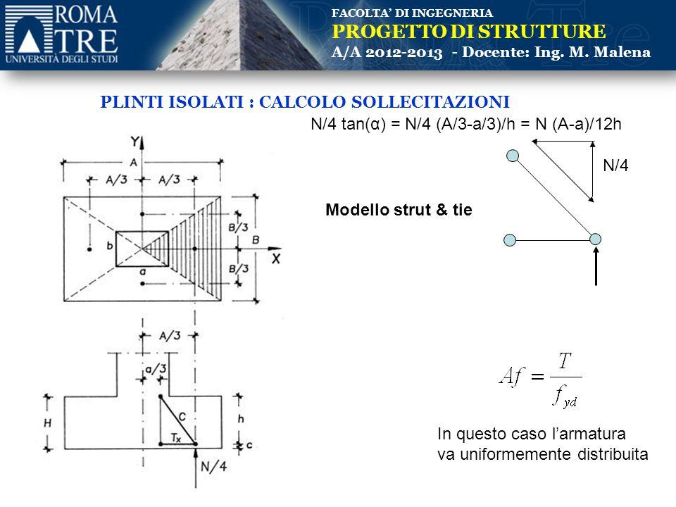 FACOLTA' DI INGEGNERIA PROGETTO DI STRUTTURE A/A 2012-2013 - Docente: Ing. M. Malena PLINTI ISOLATI : CALCOLO SOLLECITAZIONI Modello strut & tie N/4 N