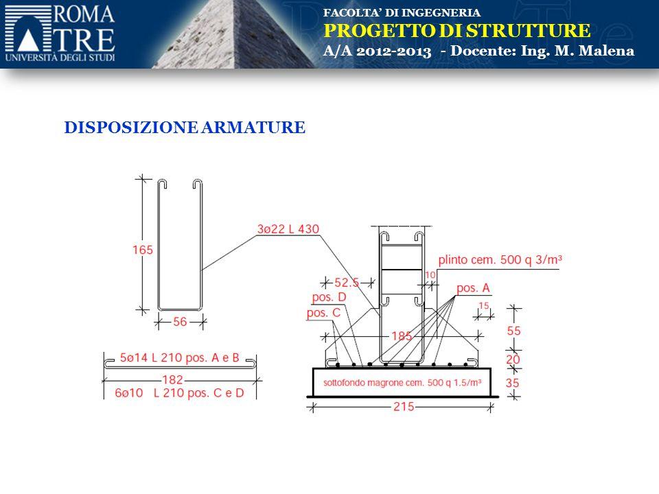 FACOLTA' DI INGEGNERIA PROGETTO DI STRUTTURE A/A 2012-2013 - Docente: Ing. M. Malena DISPOSIZIONE ARMATURE