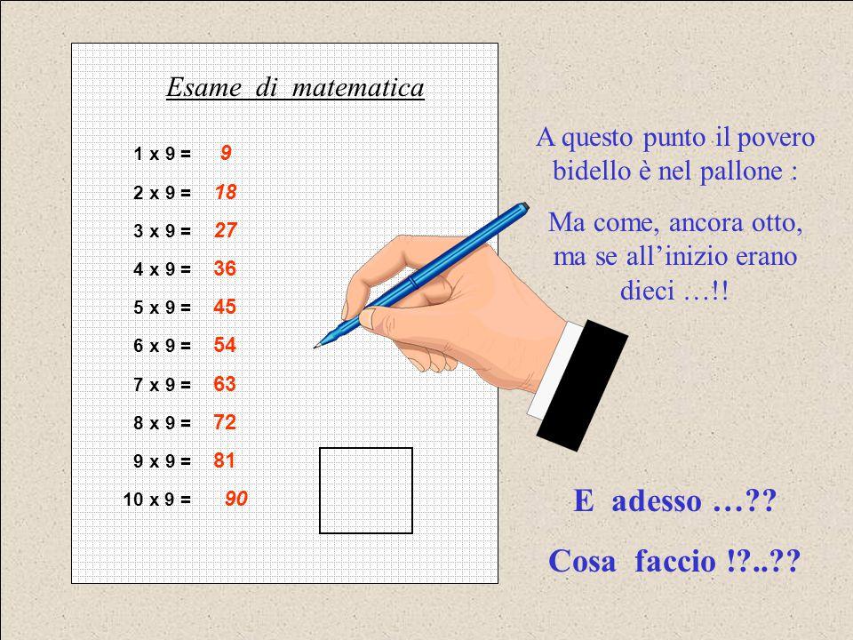 1 x 9 = 9 2 x 9 = 18 3 x 9 = 27 4 x 9 = 36 5 x 9 = 45 6 x 9 = 54 7 x 9 = 63 8 x 9 = 72 9 x 9 = 81 10 x 9 = 90 Esame di matematica A questo punto il po