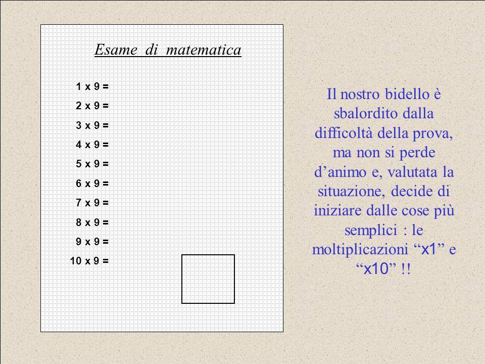 1 x 9 = 2 x 9 = 3 x 9 = 4 x 9 = 5 x 9 = 6 x 9 = 7 x 9 = 8 x 9 = 9 x 9 = 10 x 9 = Esame di matematica Il nostro bidello è sbalordito dalla difficoltà d