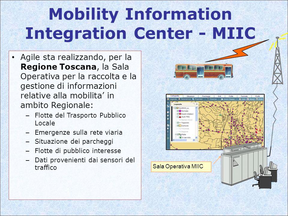 Mobility Information Integration Center - MIIC Sala Operativa MIIC Agile sta realizzando, per la Regione Toscana, la Sala Operativa per la raccolta e la gestione di informazioni relative alla mobilita' in ambito Regionale: – Flotte del Trasporto Pubblico Locale – Emergenze sulla rete viaria – Situazione dei parcheggi – Flotte di pubblico interesse – Dati provenienti dai sensori del traffico