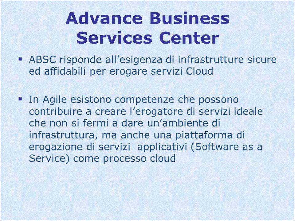 Advance Business Services Center  ABSC risponde all'esigenza di infrastrutture sicure ed affidabili per erogare servizi Cloud  In Agile esistono competenze che possono contribuire a creare l'erogatore di servizi ideale che non si fermi a dare un'ambiente di infrastruttura, ma anche una piattaforma di erogazione di servizi applicativi (Software as a Service) come processo cloud