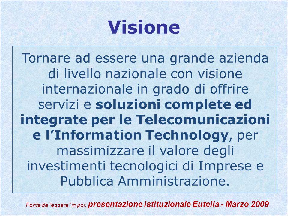 Visione Tornare ad essere una grande azienda di livello nazionale con visione internazionale in grado di offrire servizi e soluzioni complete ed integrate per le Telecomunicazioni e l'Information Technology, per massimizzare il valore degli investimenti tecnologici di Imprese e Pubblica Amministrazione.