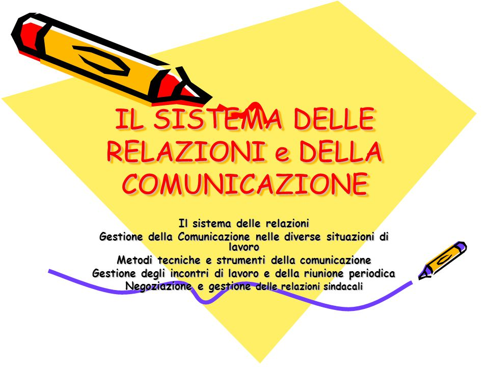IL SISTEMA DELLE RELAZIONI e DELLA COMUNICAZIONE Il sistema delle relazioni Gestione della Comunicazione nelle diverse situazioni di lavoro Metodi tec