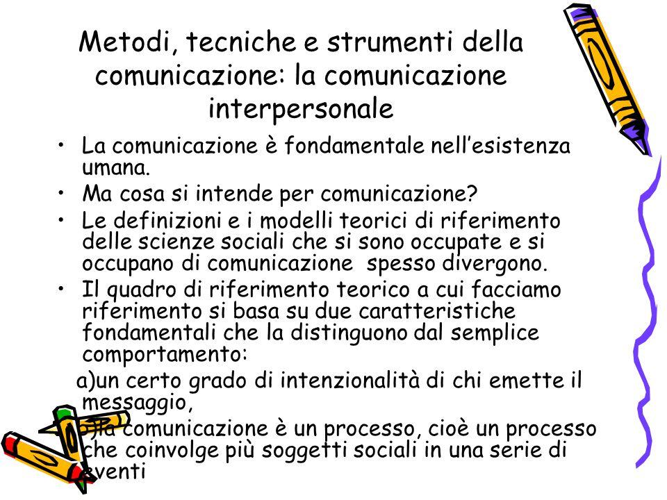 Metodi, tecniche e strumenti della comunicazione: la comunicazione interpersonale La comunicazione è fondamentale nell'esistenza umana. Ma cosa si int