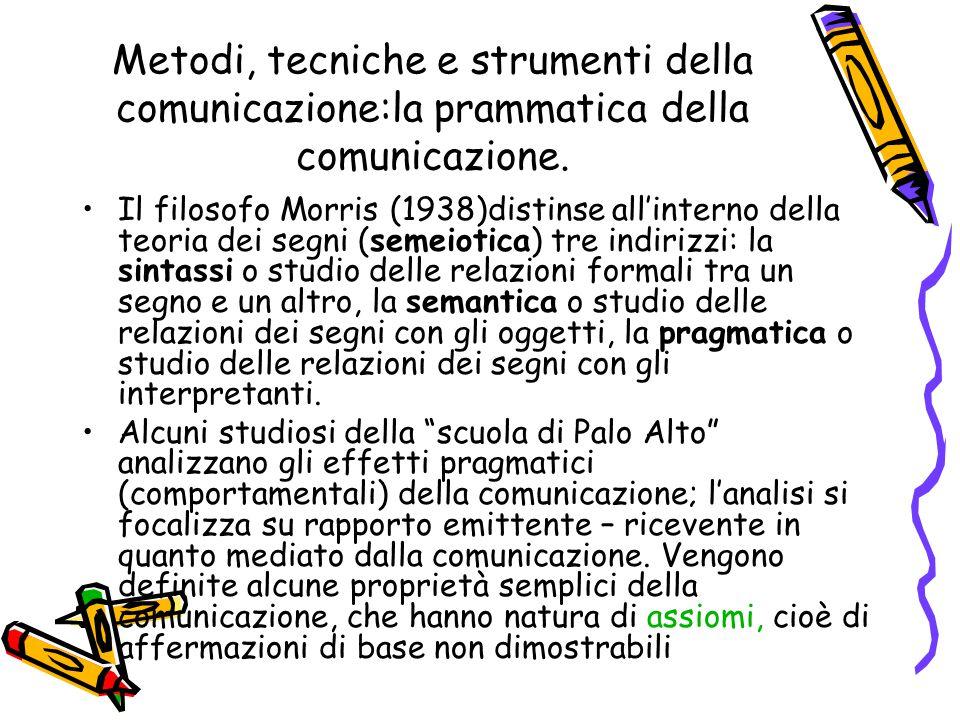 Metodi, tecniche e strumenti della comunicazione:la prammatica della comunicazione. Il filosofo Morris (1938)distinse all'interno della teoria dei seg
