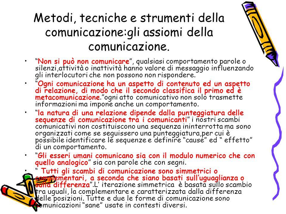 """Metodi, tecniche e strumenti della comunicazione:gli assiomi della comunicazione. """"Non si può non comunicare"""", qualsiasi comportamento parole o silenz"""
