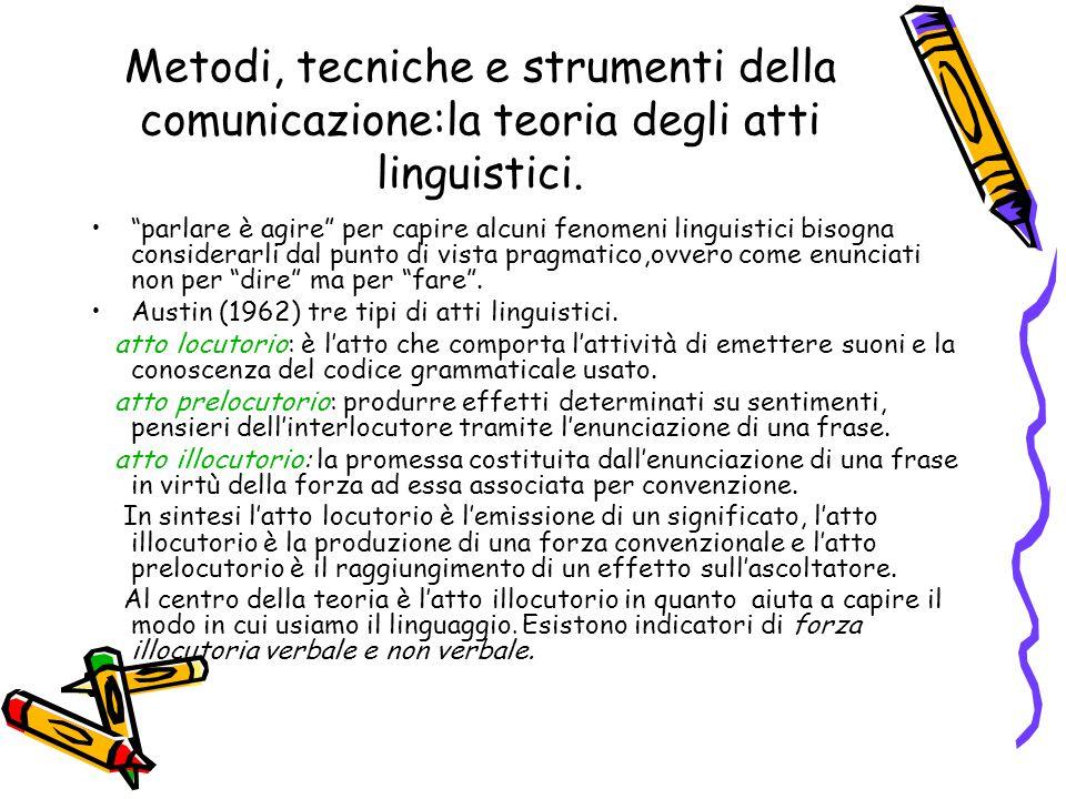 """Metodi, tecniche e strumenti della comunicazione:la teoria degli atti linguistici. """"parlare è agire"""" per capire alcuni fenomeni linguistici bisogna co"""