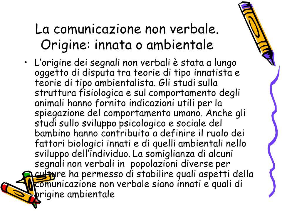 La comunicazione non verbale. Origine: innata o ambientale L'origine dei segnali non verbali è stata a lungo oggetto di disputa tra teorie di tipo inn