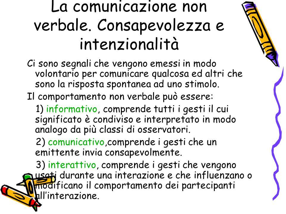 La comunicazione non verbale. Consapevolezza e intenzionalità Ci sono segnali che vengono emessi in modo volontario per comunicare qualcosa ed altri c
