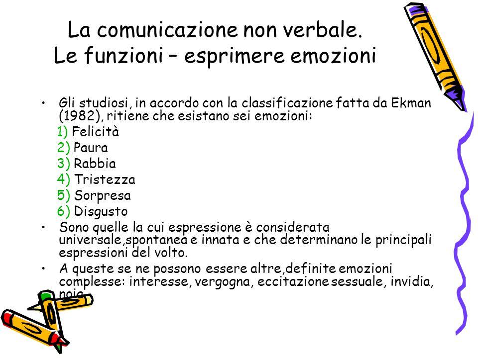 La comunicazione non verbale. Le funzioni – esprimere emozioni Gli studiosi, in accordo con la classificazione fatta da Ekman (1982), ritiene che esis