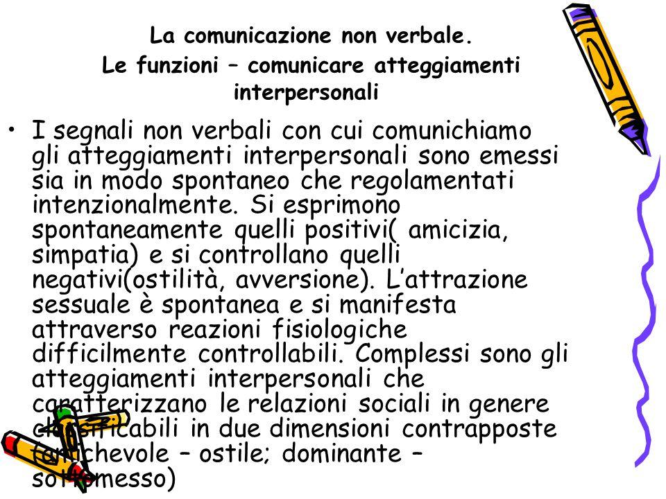 La comunicazione non verbale. Le funzioni – comunicare atteggiamenti interpersonali I segnali non verbali con cui comunichiamo gli atteggiamenti inter