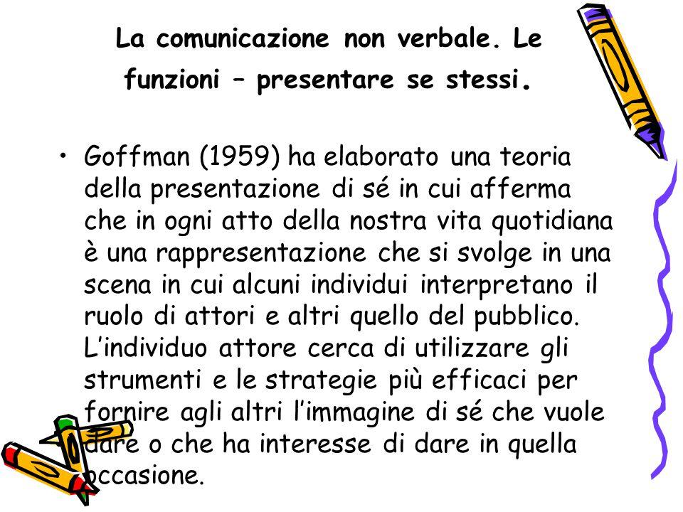 La comunicazione non verbale. Le funzioni – presentare se stessi. Goffman (1959) ha elaborato una teoria della presentazione di sé in cui afferma che
