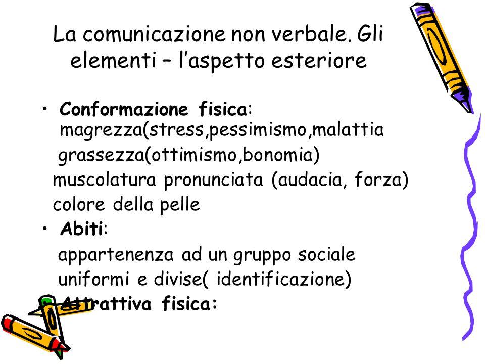 La comunicazione non verbale. Gli elementi – l'aspetto esteriore Conformazione fisica: magrezza(stress,pessimismo,malattia grassezza(ottimismo,bonomia