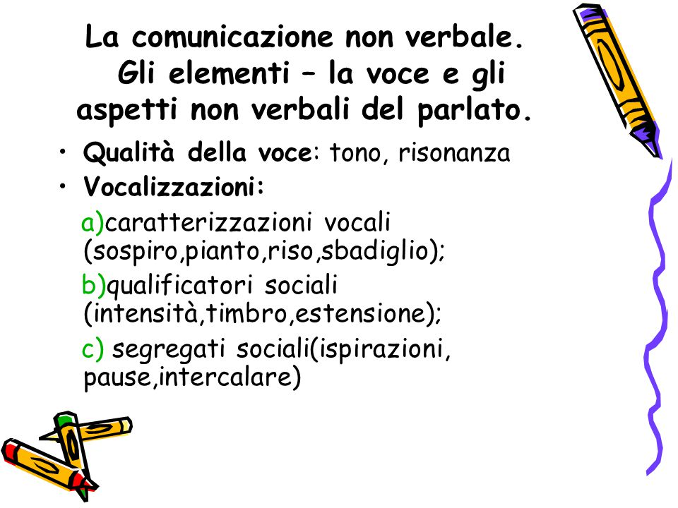 La comunicazione non verbale. Gli elementi – la voce e gli aspetti non verbali del parlato. Qualità della voce: tono, risonanza Vocalizzazioni: a)cara