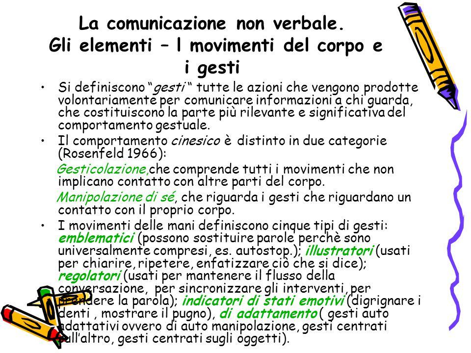 """La comunicazione non verbale. Gli elementi – l movimenti del corpo e i gesti Si definiscono """"gesti """" tutte le azioni che vengono prodotte volontariame"""