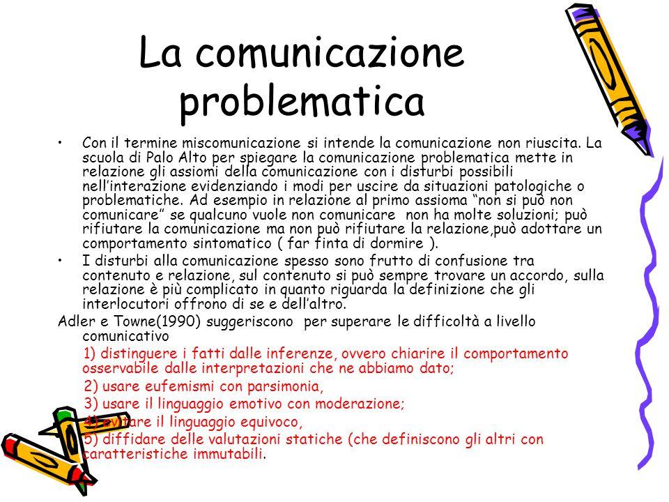 La comunicazione problematica Con il termine miscomunicazione si intende la comunicazione non riuscita. La scuola di Palo Alto per spiegare la comunic