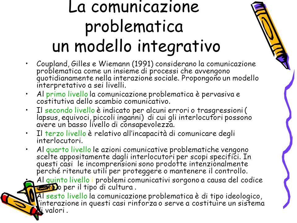 La comunicazione problematica un modello integrativo Coupland, Gilles e Wiemann (1991) considerano la comunicazione problematica come un insieme di pr