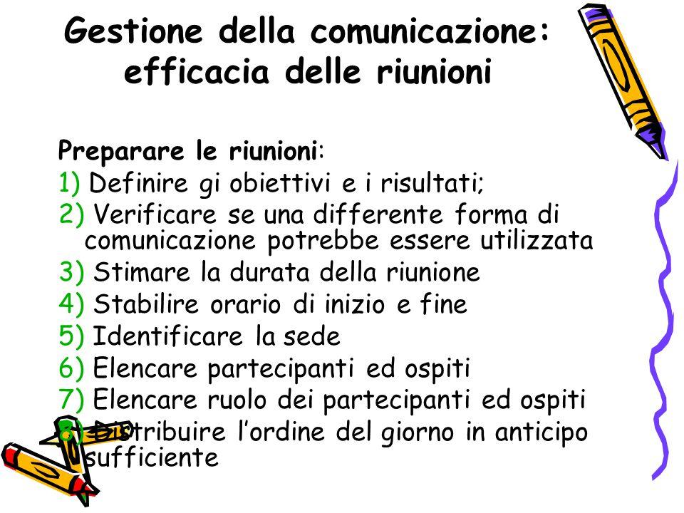 Gestione della comunicazione: efficacia delle riunioni Preparare le riunioni: 1) Definire gi obiettivi e i risultati; 2) Verificare se una differente