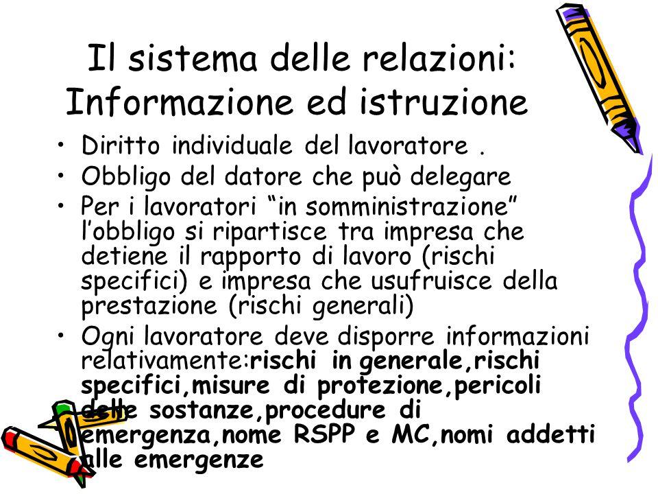 """Il sistema delle relazioni: Informazione ed istruzione Diritto individuale del lavoratore. Obbligo del datore che può delegare Per i lavoratori """"in so"""
