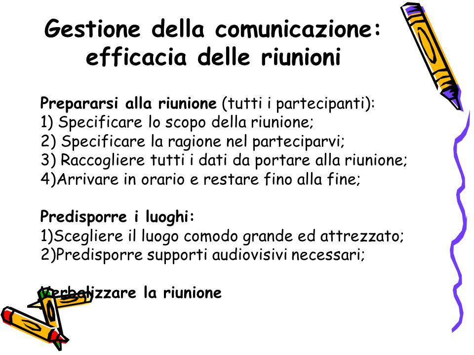 Gestione della comunicazione: efficacia delle riunioni Prepararsi alla riunione (tutti i partecipanti): 1) Specificare lo scopo della riunione; 2) Spe