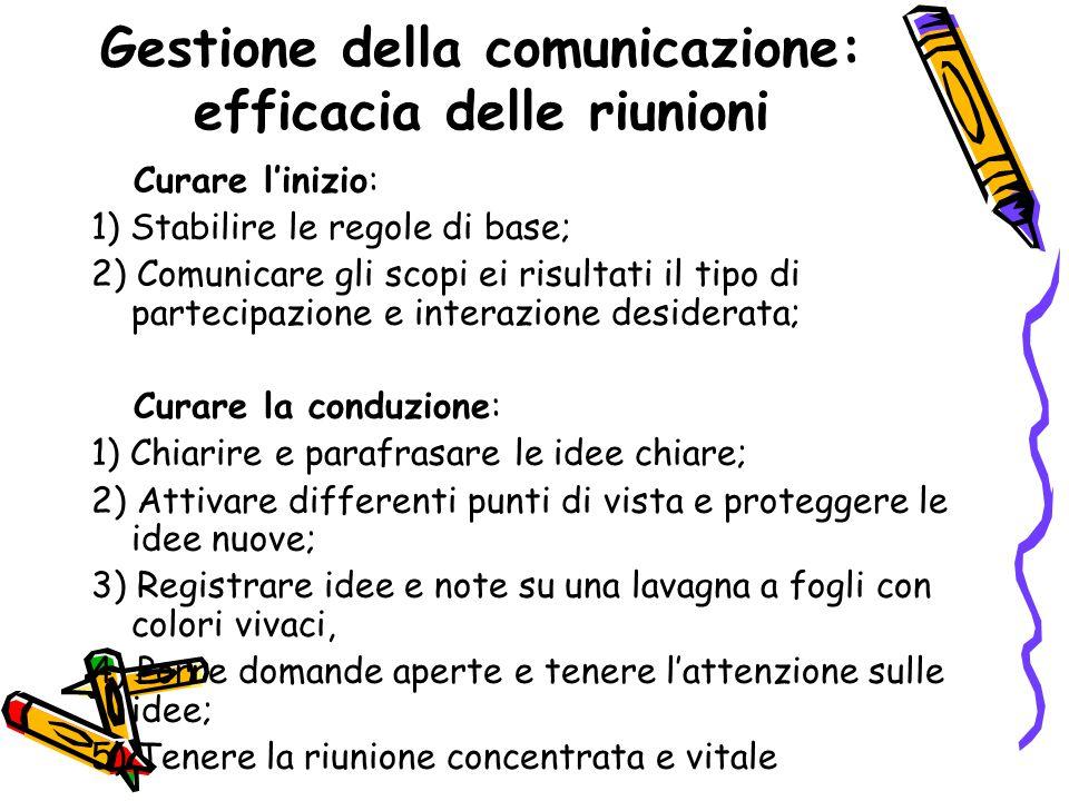 Gestione della comunicazione: efficacia delle riunioni Curare l'inizio: 1) Stabilire le regole di base; 2) Comunicare gli scopi ei risultati il tipo d