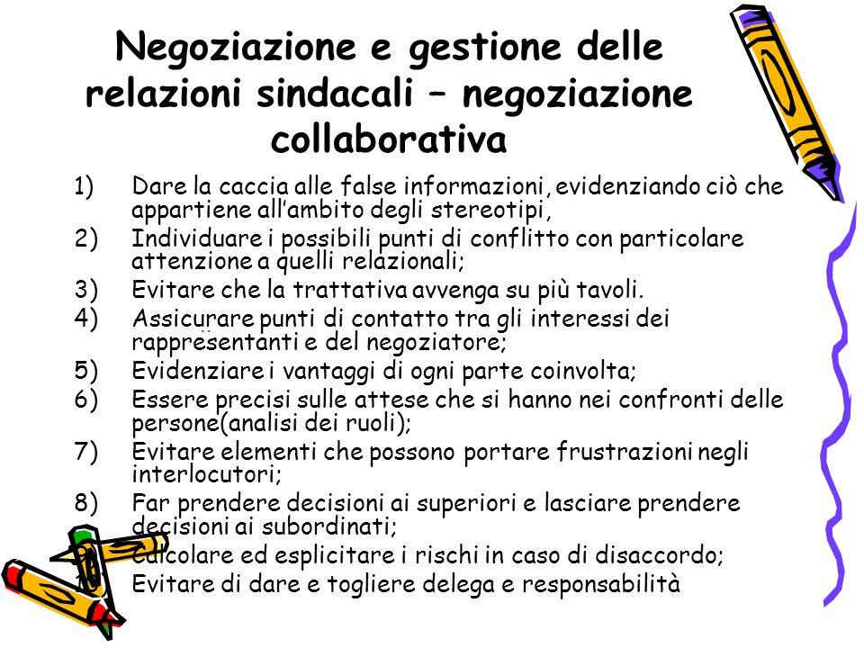 Negoziazione e gestione delle relazioni sindacali – negoziazione collaborativa 1)Dare la caccia alle false informazioni, evidenziando ciò che appartie