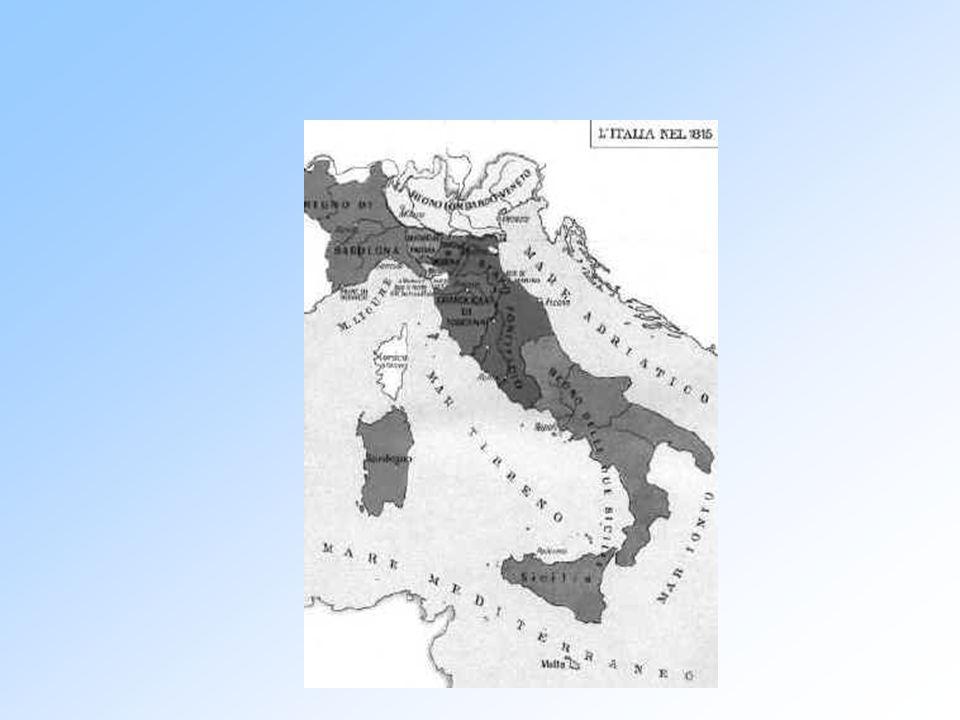 7. L'ITALIA DOPO IL CONGRESSO DI VIENNA Divisa in 7 stati Scompaiono Repubblica di Venezia, Genova e Lucca. Il Regno di Sardegna è restituito a Vittor