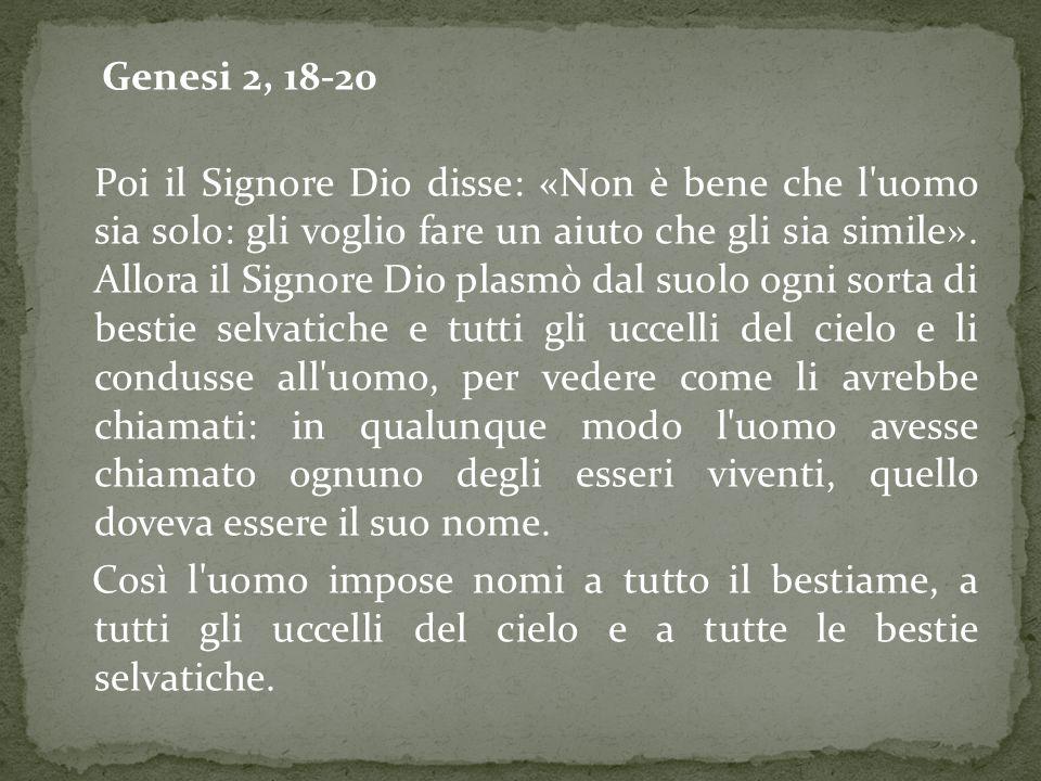 Genesi 2, 18-20 Poi il Signore Dio disse: «Non è bene che l uomo sia solo: gli voglio fare un aiuto che gli sia simile».