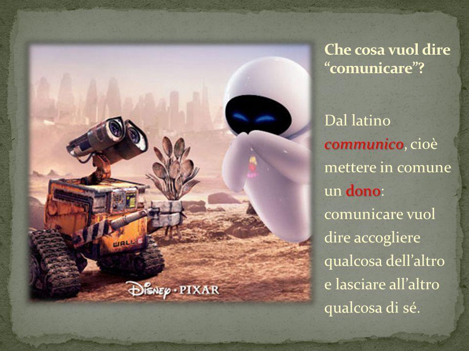 communico dono Dal latino communico, cioè mettere in comune un dono: comunicare vuol dire accogliere qualcosa dell'altro e lasciare all'altro qualcosa di sé.