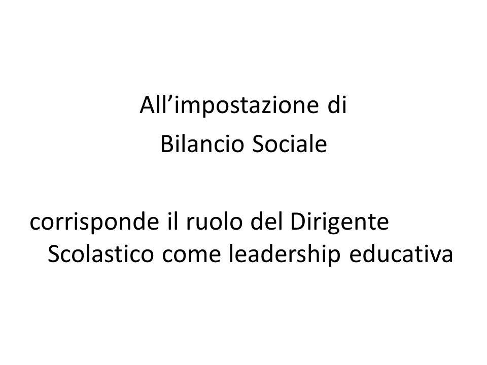 All'impostazione di Bilancio Sociale corrisponde il ruolo del Dirigente Scolastico come leadership educativa