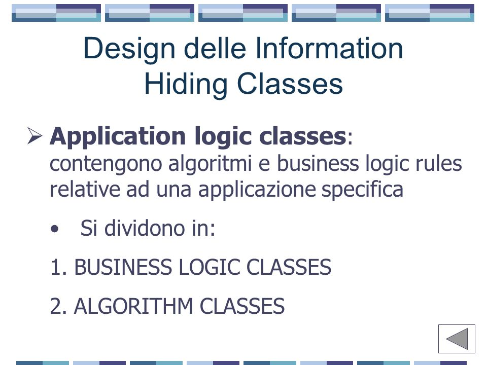 Design delle Information Hiding Classes  Application logic classes : contengono algoritmi e business logic rules relative ad una applicazione specifica Si dividono in: 1.BUSINESS LOGIC CLASSES 2.ALGORITHM CLASSES
