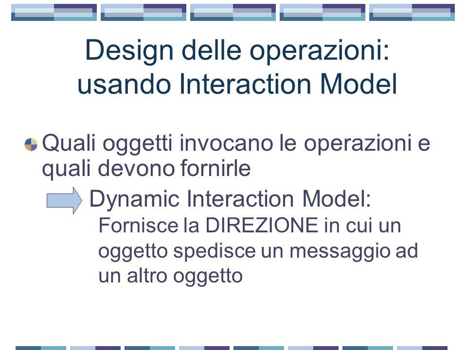 Design delle operazioni: usando Interaction Model Quali oggetti invocano le operazioni e quali devono fornirle Dynamic Interaction Model: Fornisce la DIREZIONE in cui un oggetto spedisce un messaggio ad un altro oggetto