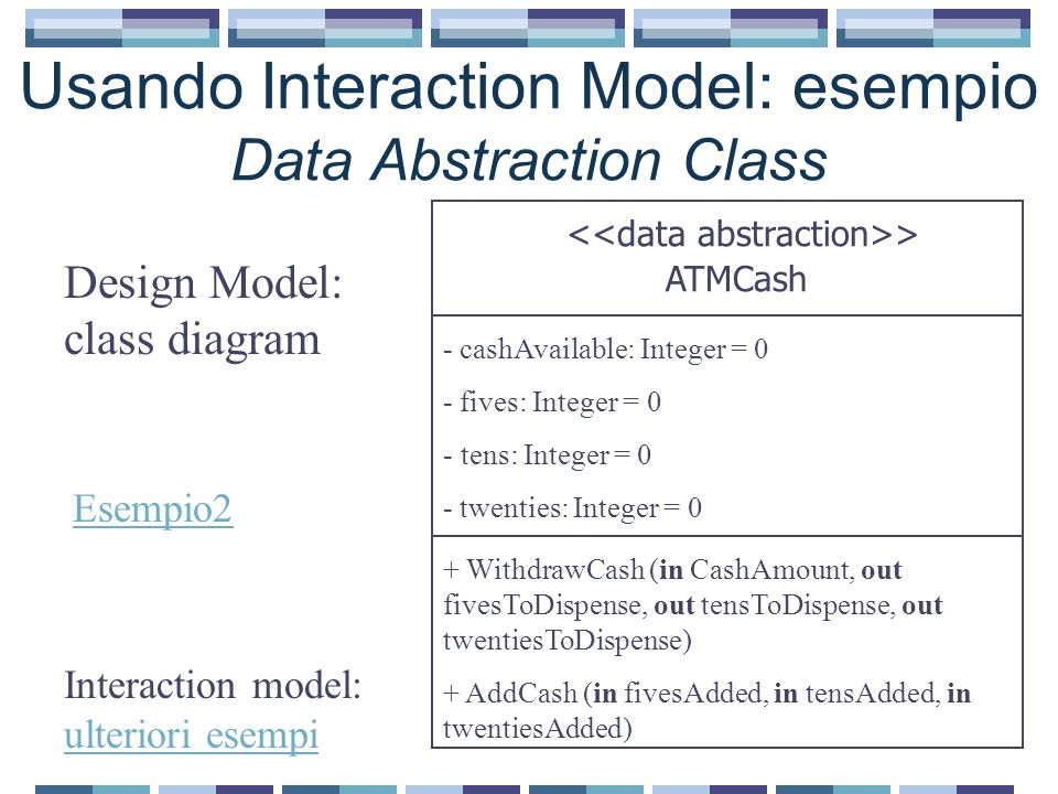 Usando Interaction Model: esempio Data Abstraction Class > ATMCash - cashAvailable: Integer = 0 - fives: Integer = 0 - tens: Integer = 0 - twenties: I