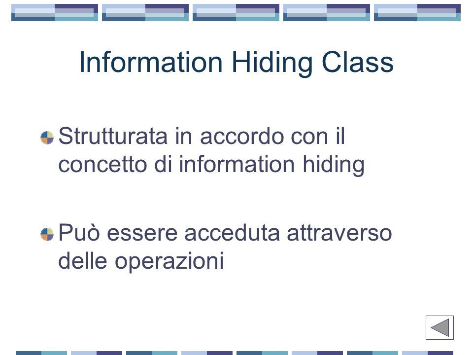 Information Hiding Class Strutturata in accordo con il concetto di information hiding Può essere acceduta attraverso delle operazioni