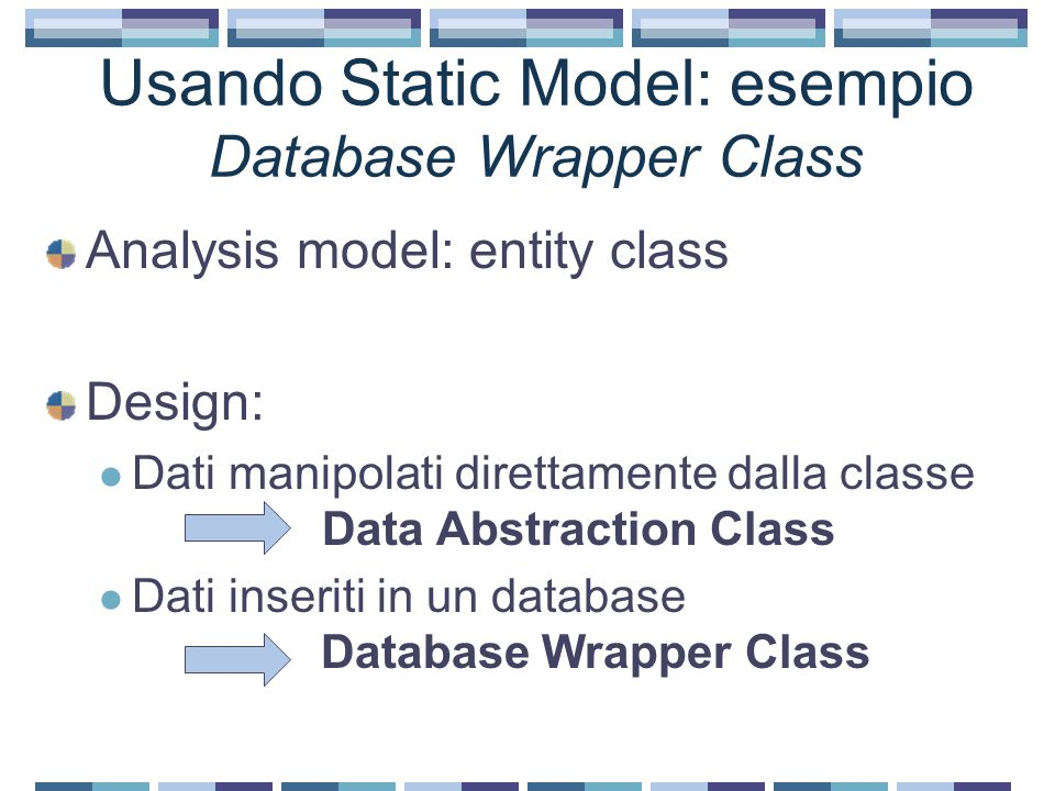 Usando Static Model: esempio Database Wrapper Class Analysis model: entity class Design: Dati manipolati direttamente dalla classe Data Abstraction Class Dati inseriti in un database Database Wrapper Class