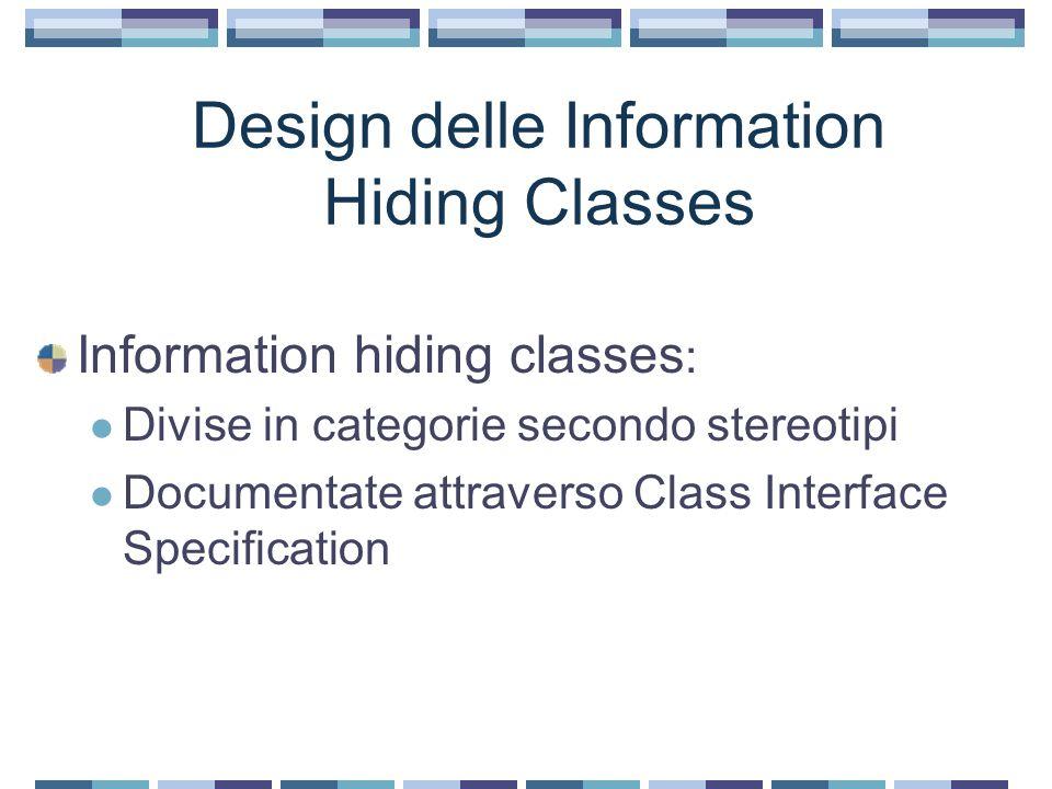 Usando Interaction Model: esempio Data Abstraction Class Analysis model: entity class Design model: data abstraction class Attributi: decisi nello static model Operazioni: si considera come accedere ai dati memorizzati nella classe