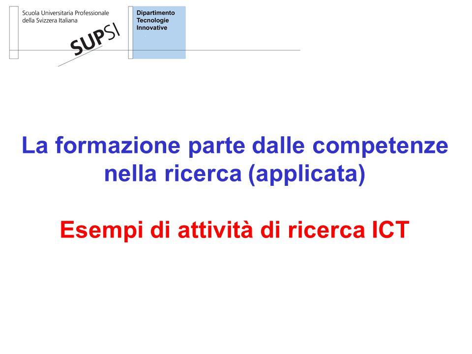 La formazione parte dalle competenze nella ricerca (applicata) Esempi di attività di ricerca ICT